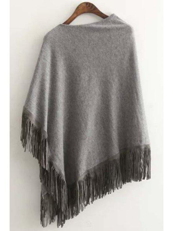 chic Tessels Asymmetric Cape Sweater - GRAY ONE SIZE(FIT SIZE XS TO M)