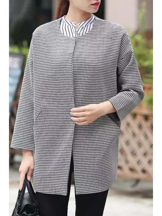 lady Pockets Houndstooth Trench Coat - WHITE AND BLACK S