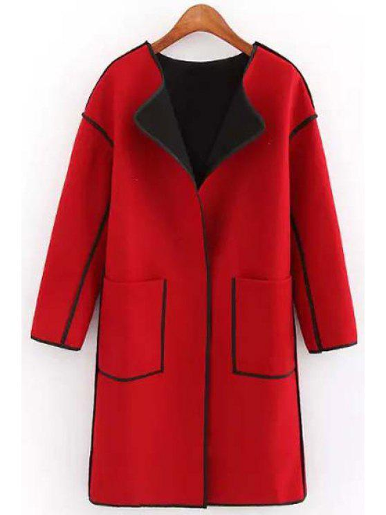 affordable Round Neck Big Pockets Wool Coat - RED M