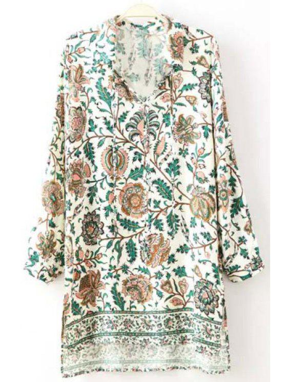 new V-Neck Long Sleeve Floral Print Dress - WHITE S