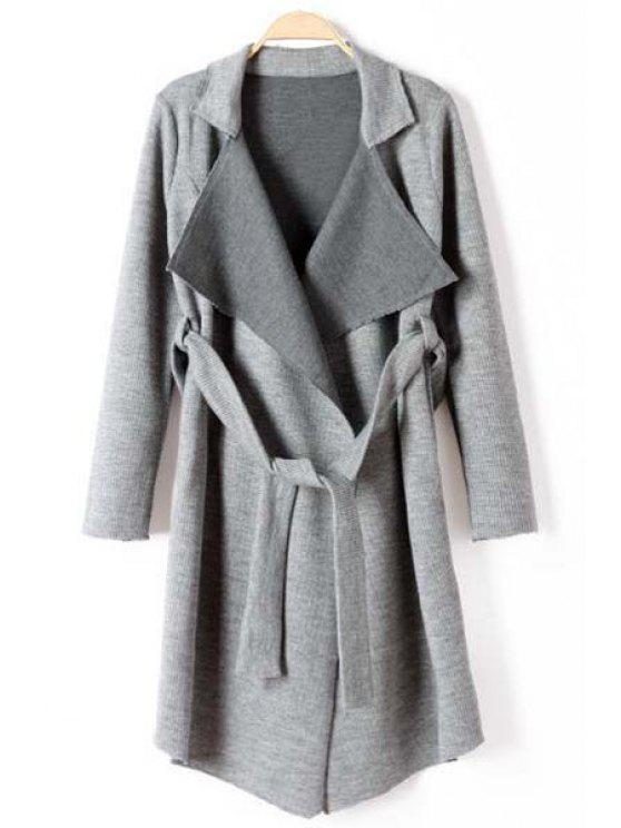 ladies Lapel Self-Tie Belt Long Cardigan - GRAY L