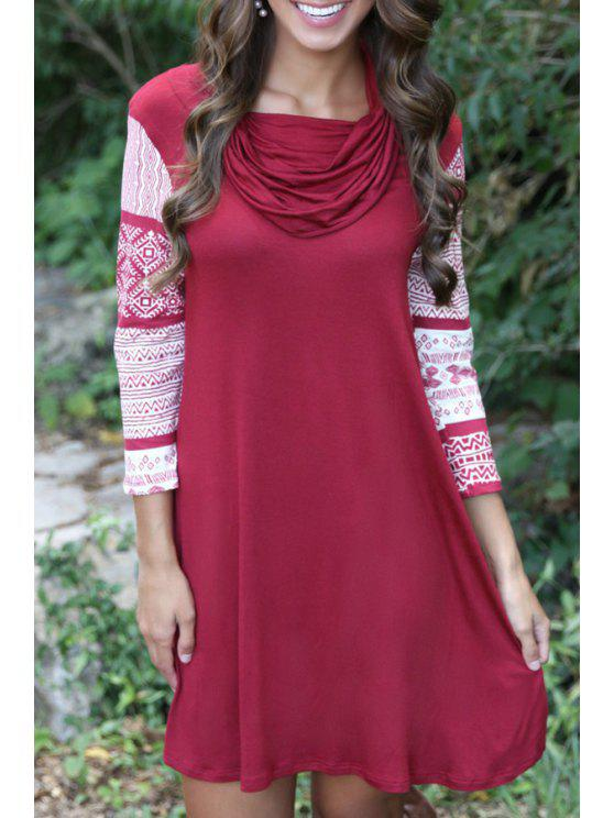 hot Geometric Print 3/4 Sleeves Heaps Collar Dress - WINE RED XL