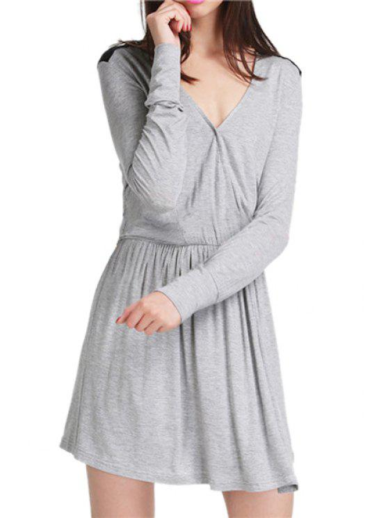 ladies Color Block V Neck Long Sleeve Dress - GRAY M