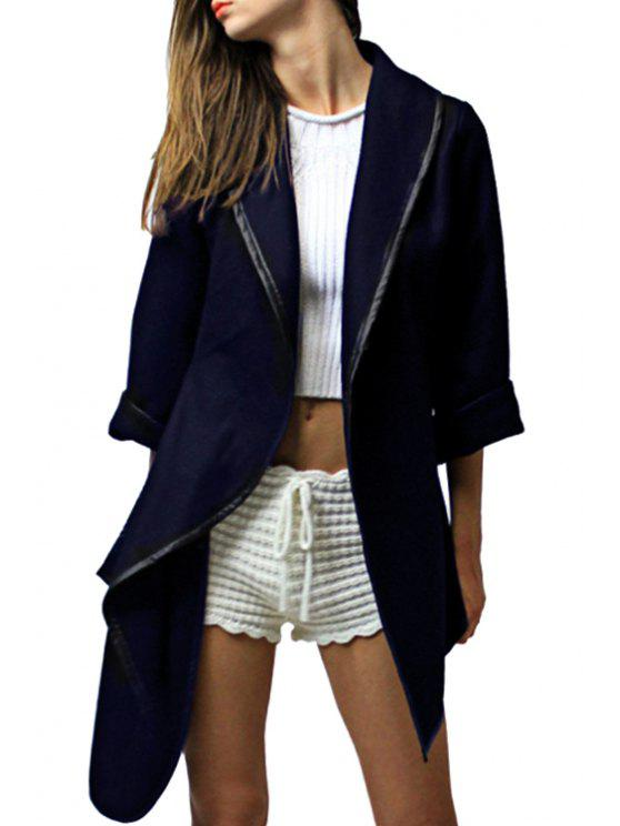 womens Pure Color Turn Down Collar 3/4 Sleeve Coat - CADETBLUE M