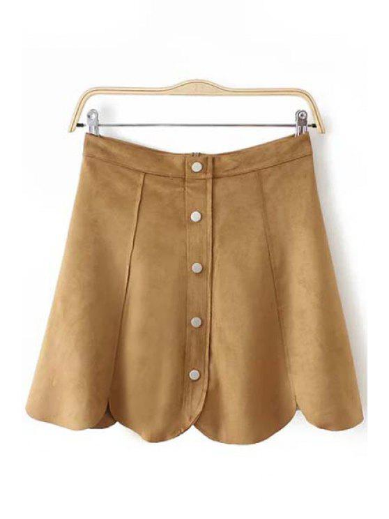 outfits A Line Mini Suede Skirt - KHAKI M