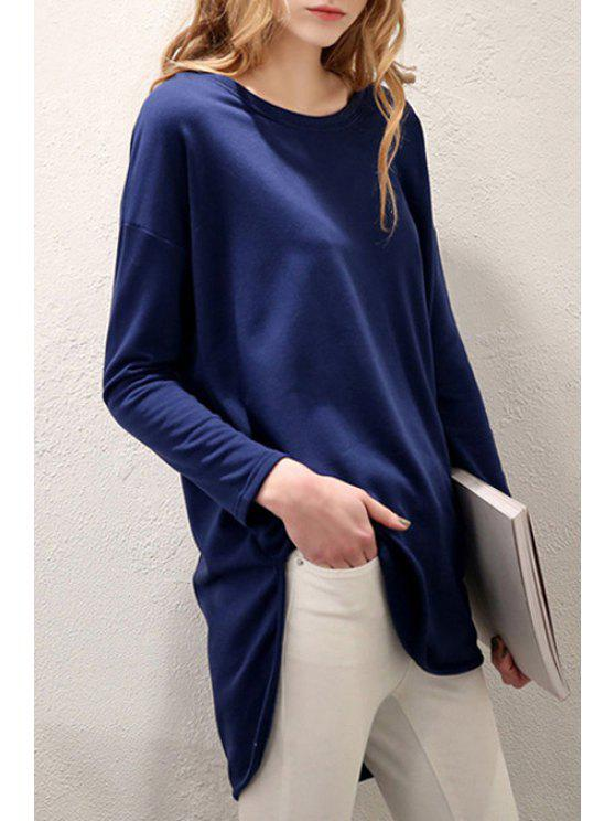 sale High Low Scoop Neck Long Sleeve T-Shirt - BLUE S