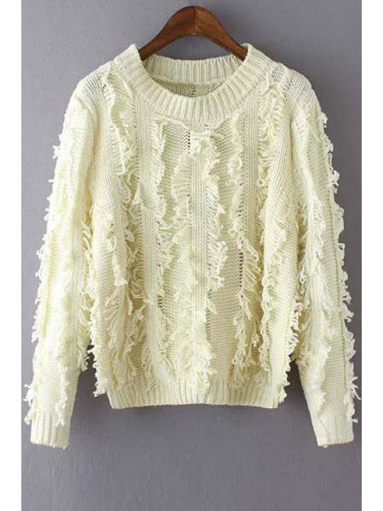 latest Round Neck Fringed Jumper - OFF-WHITE ONE SIZE(FIT SIZE XS TO M)