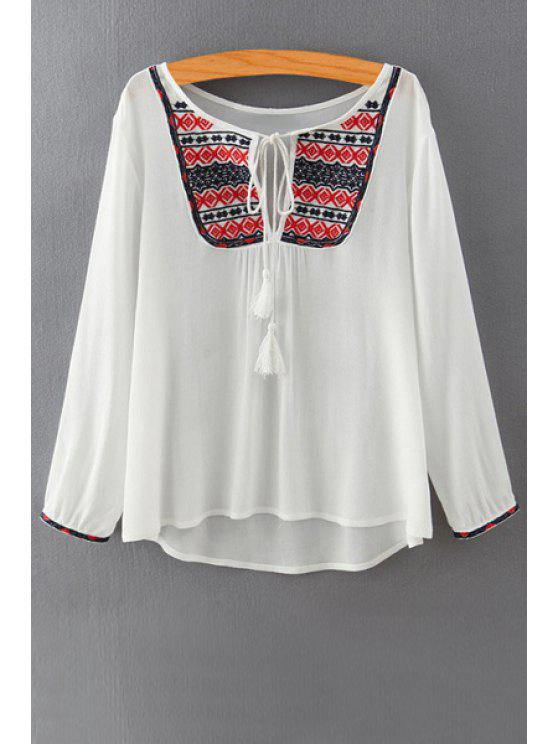 women Ethnic Embroidery Long Sleeves Blouse - WHITE M
