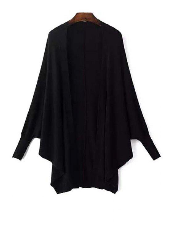affordable Batwing Sleeve Solid Color Cardigan - BLACK ONE SIZE(FIT SIZE XS TO M)
