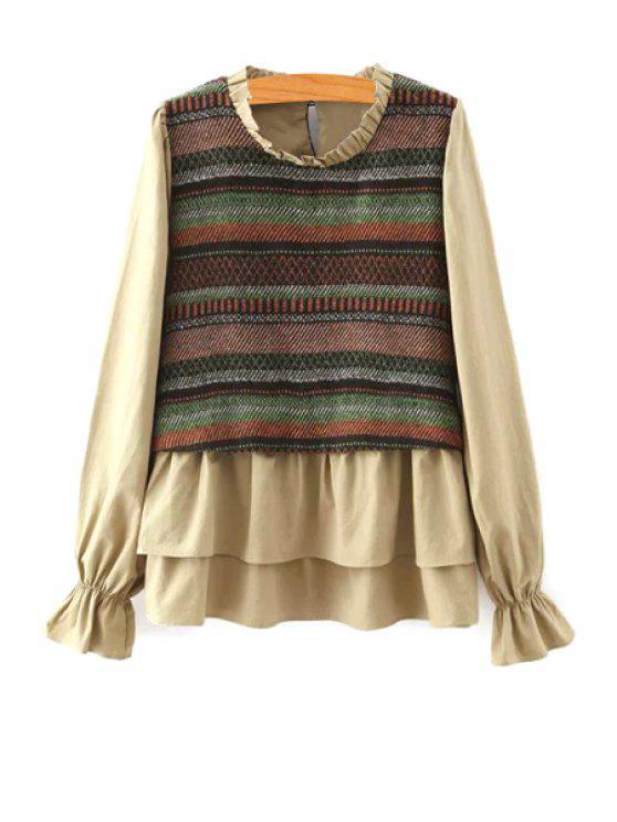 online Striped Spliced Stand Neck Long Sleeve Blouse - SOIL M
