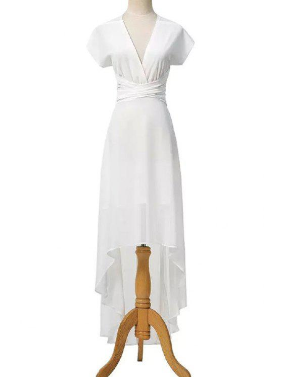 latest High Low Plunging Neck Short Sleeve Dress - WHITE S