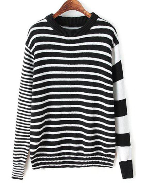chic Stripes Spliced Long Sleeve Jumper - WHITE AND BLACK S