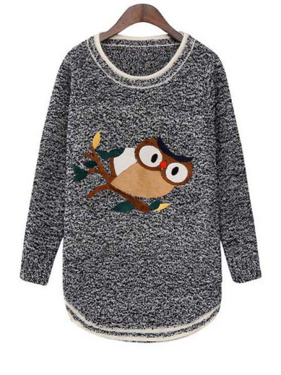 women Long Sleeve Night Owl Pattern Sweater - GRAY ONE SIZE(FIT SIZE XS TO M)
