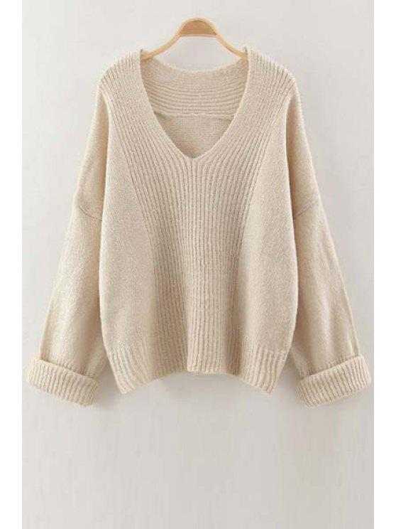 best V Neck Solid Color Sweater - OFF-WHITE ONE SIZE(FIT SIZE XS TO M)