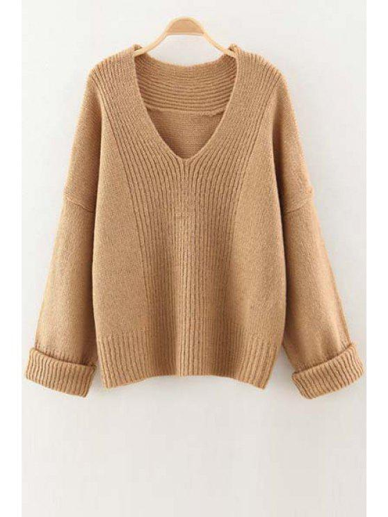 hot V Neck Solid Color Sweater - CAMEL ONE SIZE(FIT SIZE XS TO M)