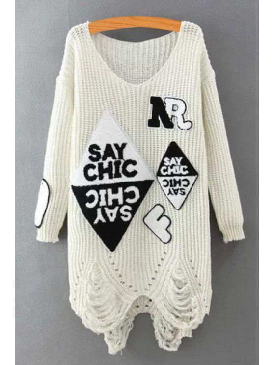 latest Letters Pattern V Neck Long Sleeve Jumper - WHITE ONE SIZE(FIT SIZE XS TO M)