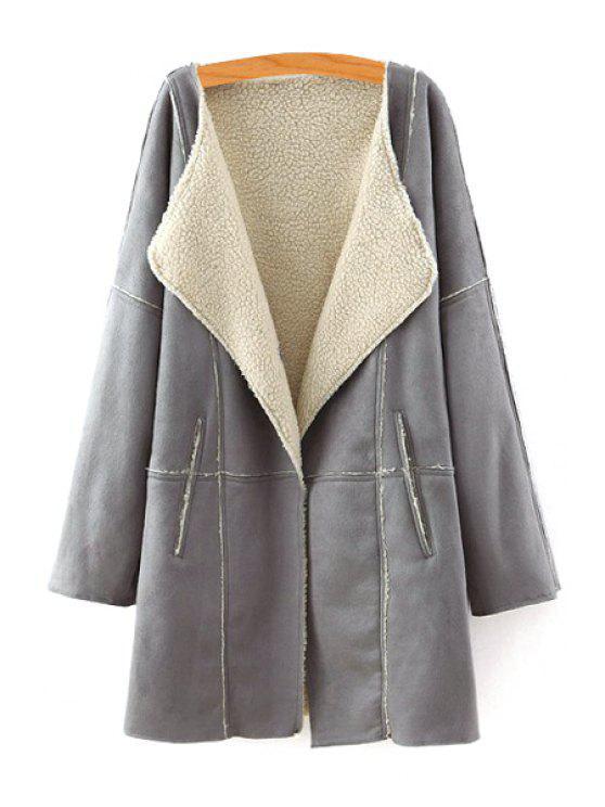 latest Lamb Wool Turn Down Collar Long Sleeve Coat - GRAY S