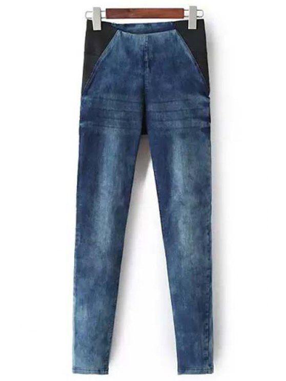 fancy Bleach Wash Stretchy Pencil Jeans - BLUE S