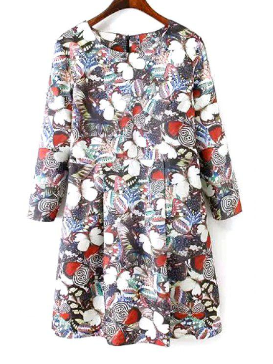chic Long Sleeves Full Butterfly Print Dress - BLACK M