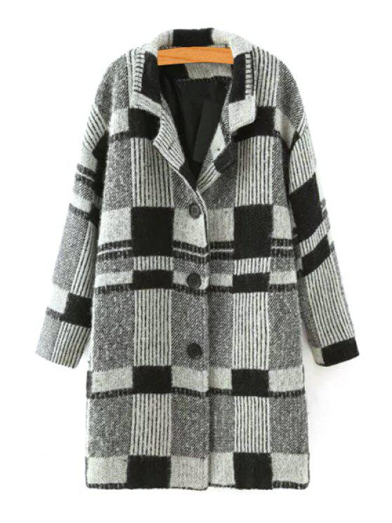 womens Checked Lapel Neck Long Sleeve Coat - BLACK AND GREY L