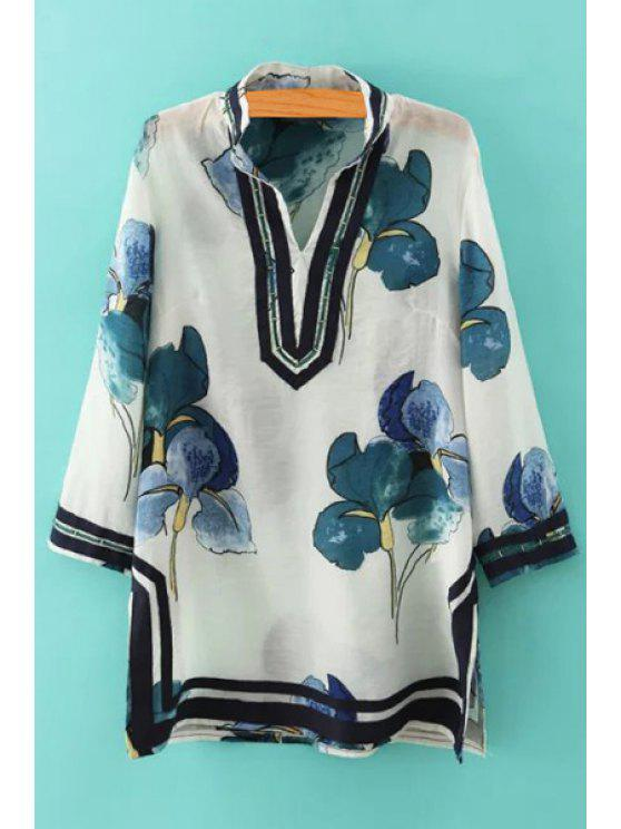 outfit Retro Floral Stand Neck 3/4 Sleeve Blouse - AS THE PICTURE S