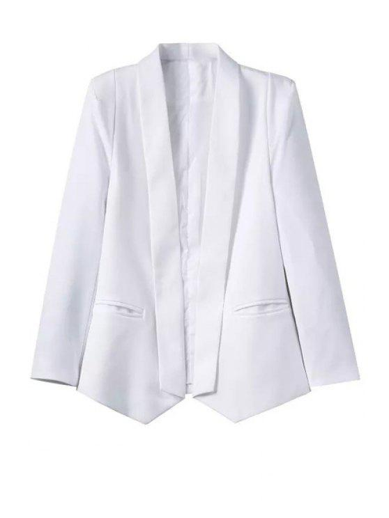 hot White Shawl Collar Long Sleeve Blazer - WHITE L