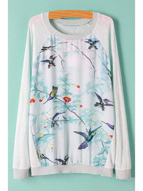 women's Bird Print Spliced Long Sleeve Knitwear - LIGHT GRAY M