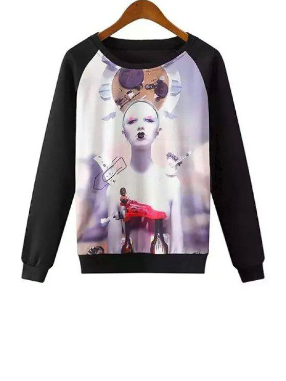 fashion Character Print Long Sleeves Round Collar Sweatshirt - COLORMIX S
