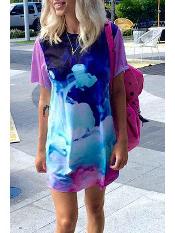 unique Abstract Print Short Sleeves Dress - DEEP BLUE S