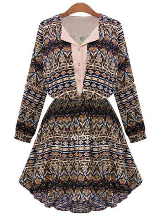 women Geometric Print V Neck Long Sleeve A Line Dress - COFFEE M