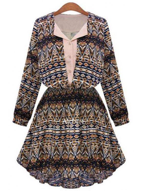 buy Geometric Print V Neck Long Sleeve A Line Dress - COFFEE S