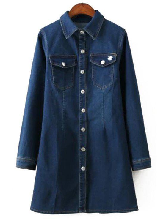 women Solid Color Turn-Down Collar Denim Dress - DEEP BLUE S