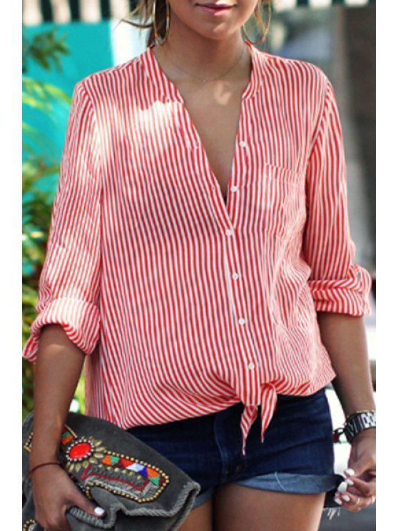 online Stand Neck Striped Tie Knot Shirt - RED S