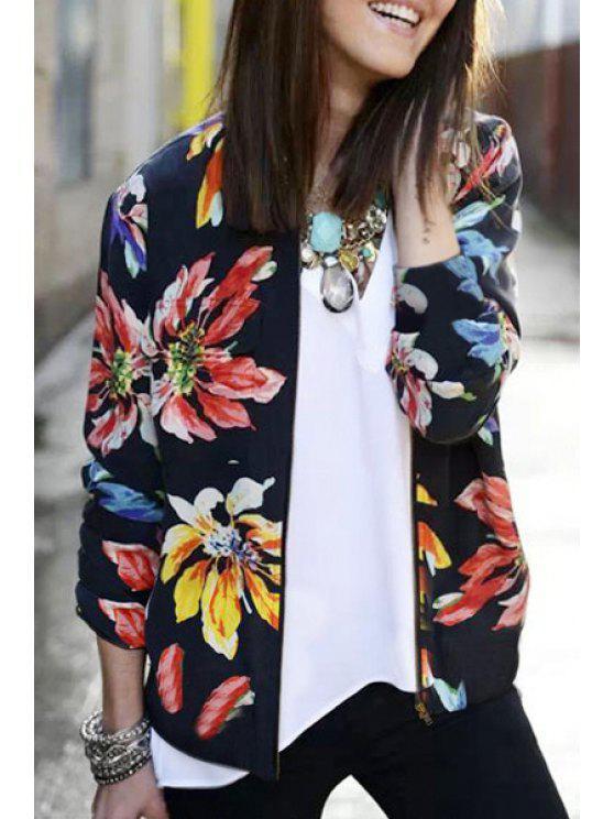 womens Flower Print Baseball Jacket - BLACK S