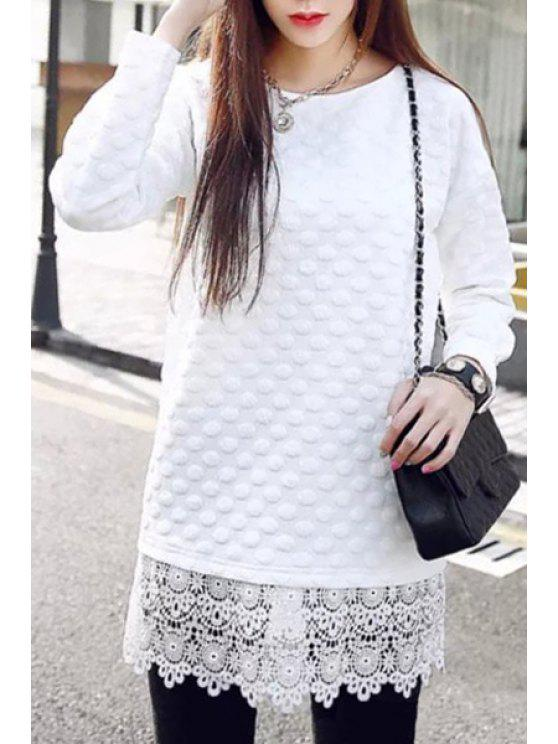 shop Lacework Splicing Long Sleeves Solid Color Dress - WHITE S