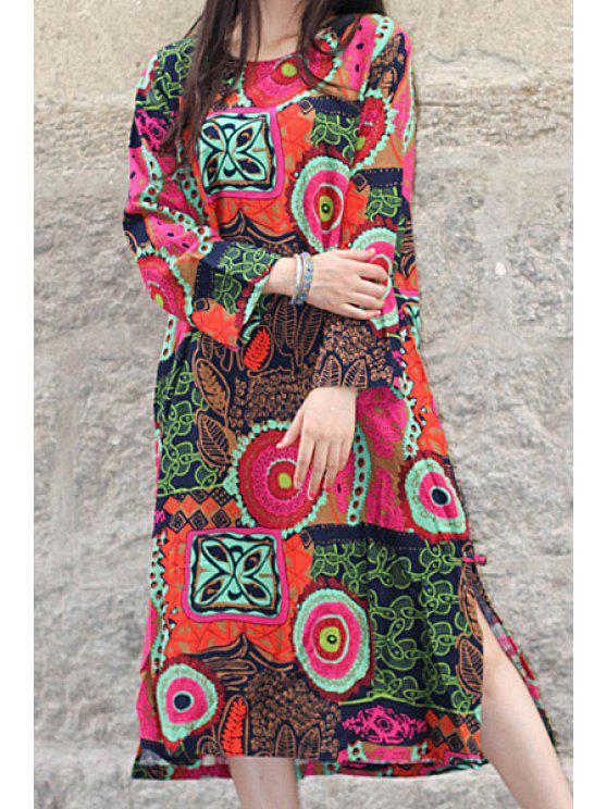 latest Abstract Print Colorful Autumn Dress - ROSE ONE SIZE(FIT SIZE XS TO M)
