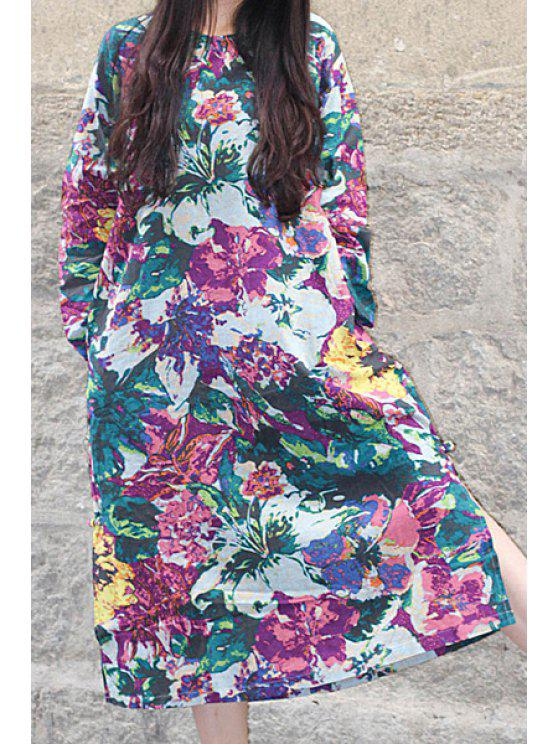 fancy Floral Print Loose-Fitting Linen Dress - LIGHT YELLOW ONE SIZE(FIT SIZE XS TO M)