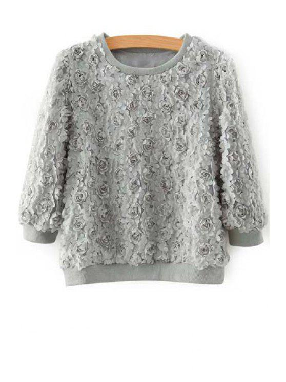 shops 3/4 Sleeve Full Floral Fall Top - GRAY M