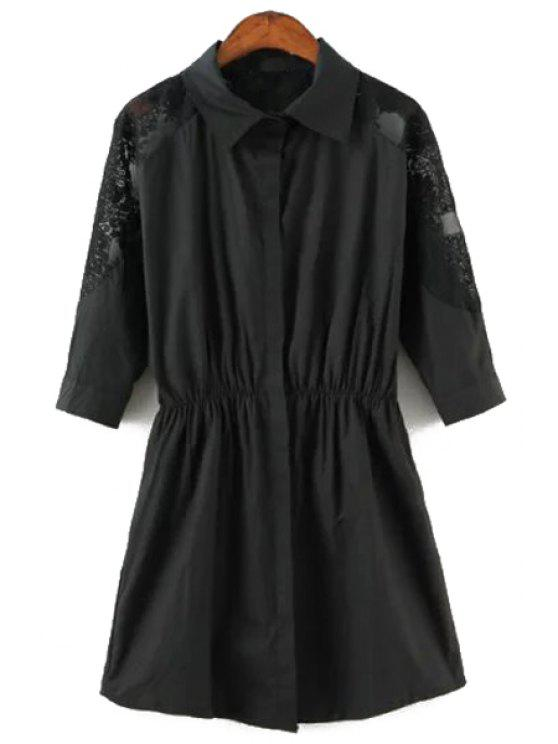 chic Lace Splicing 3/4 Sleeves Solid Color Shirt Dress - BLACK S