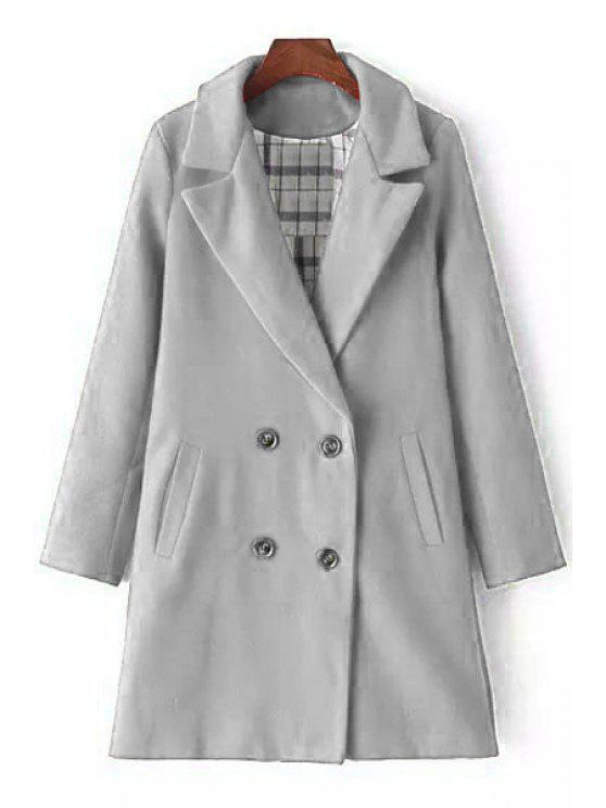 new Lapel Double-Breasted Wool Coat - GRAY M
