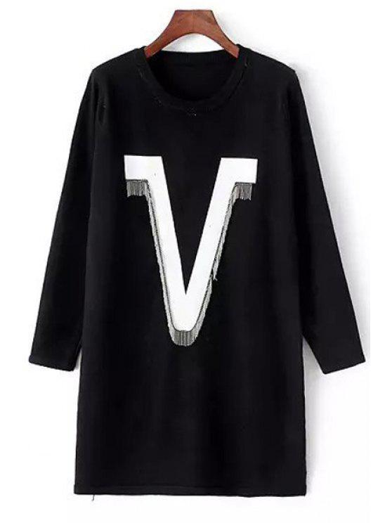 lady Round Neck Tassels V Pattern Sweater - BLACK ONE SIZE(FIT SIZE XS TO M)