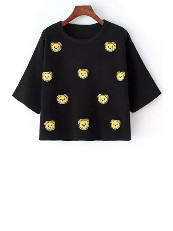 women's 3/4 Sleeve Bear Embroidered Sweater - BLACK ONE SIZE(FIT SIZE XS TO M)