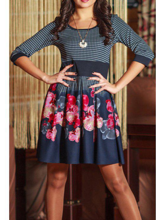 womens Floral Print 3/4 Sleeve A Line Dress - PURPLISH BLUE S