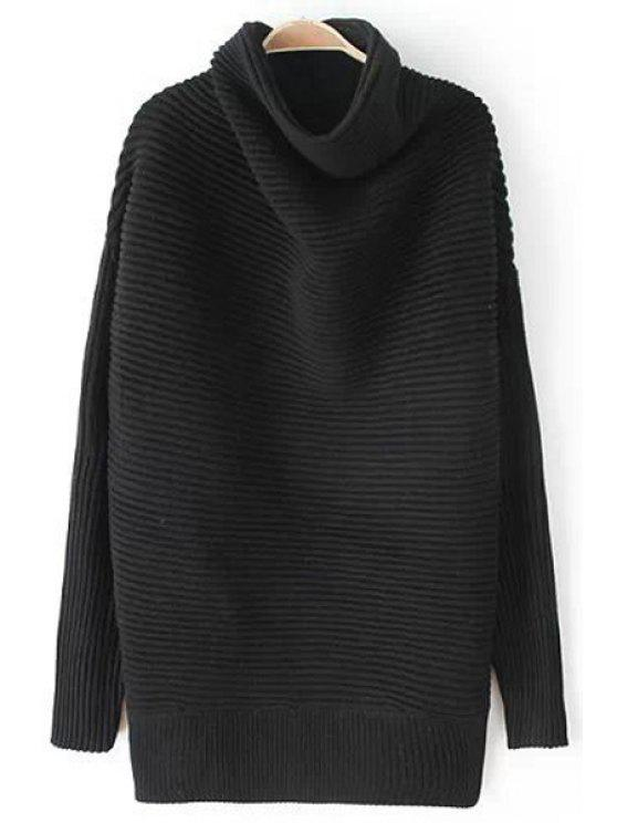 womens Funnel Neck Long Sleeve Black Sweater - BLACK ONE SIZE(FIT SIZE XS TO M)