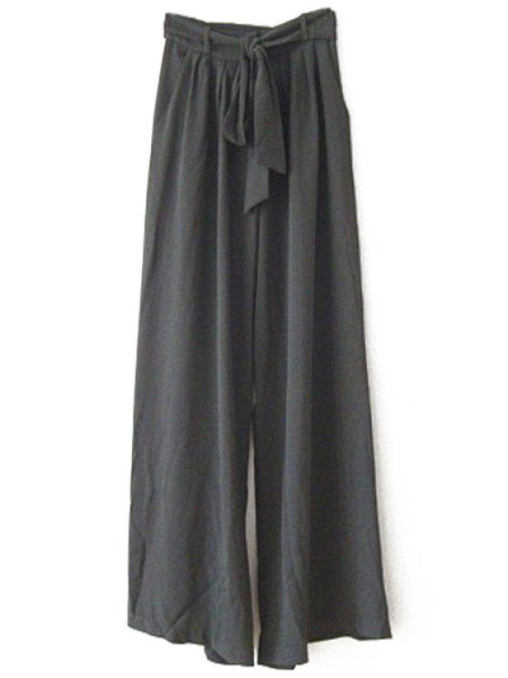 shop Voile Solid Color Loose Fitting Wide Leg Pants - BLACK ONE SIZE(FIT SIZE XS TO M)