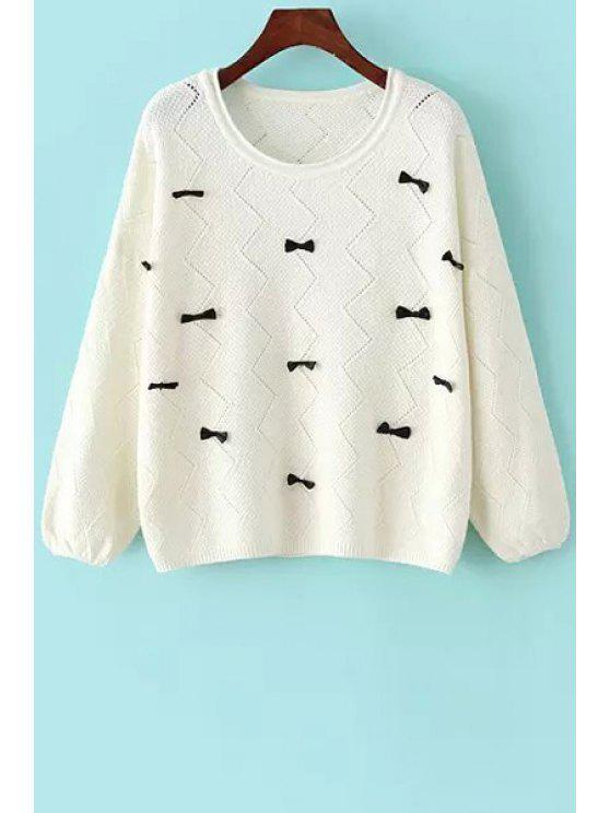 buy Bowknot Embellished Sweater - WHITE ONE SIZE(FIT SIZE XS TO M)
