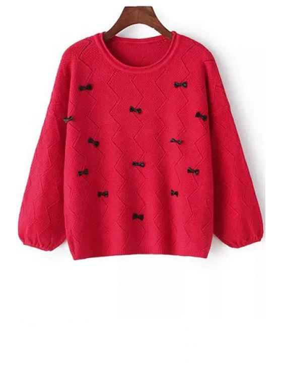 Bowknot Embellished Sweater RED: Sweaters ONE SIZE(FIT SIZE XS TO ...