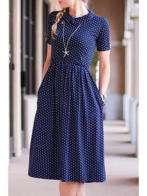 outfit Polka Dot Round Neck Short Sleeve Dress - BLUE S