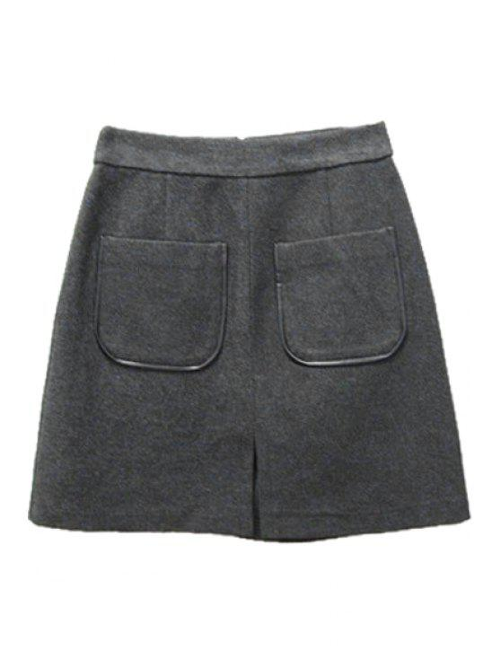 fancy Pocket Stylish Solid Color Wool Women's Skirt - GRAY S