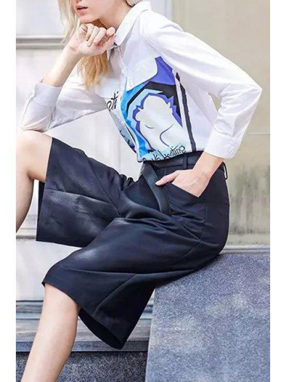 fashion Printed Long Sleeves Turn-Down Collar Shirt - WHITE S